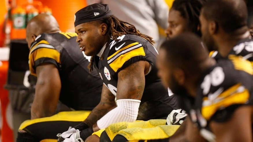 Jan 3, 2015; Pittsburgh, PA, USA; Pittsburgh Steelers strong safety Shamarko Thomas (29) looks on from the bench against the Baltimore Ravens in the fourth quarter in the 2014 AFC Wild Card playoff football game at Heinz Field. The Ravens won 30-17. Mandatory Credit: Geoff Burke-USA TODAY Sports