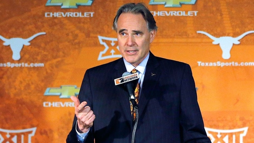 AUSTIN, TX - APRIL 3: Texas athletic director Steve Patterson makes comments before introducing Shaka Smart as the new head coach of the Texas Longhorns men's basketball team at the Frank Erwin Center on April 3, 2015 in Austin, Texas. (Photo by Chris Covatta/Getty Images)