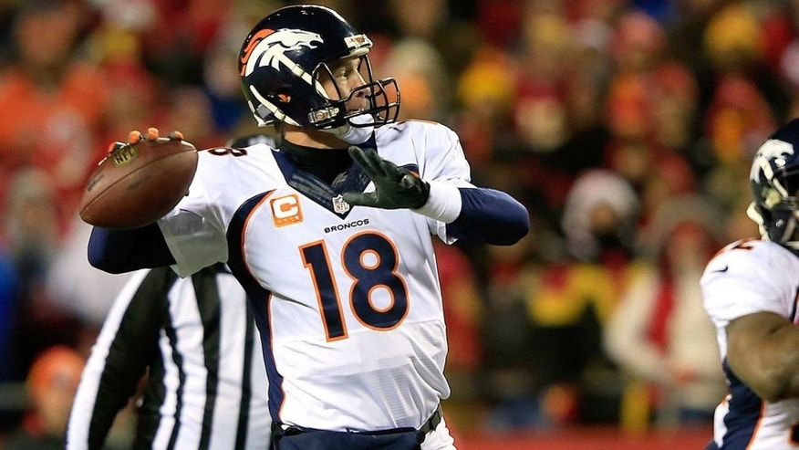 KANSAS CITY, MO - NOVEMBER 30: Peyton Manning #18 of the Denver Broncos passes against the Kansas City Chiefs during the first quarter at Arrowhead Stadium on November 30, 2014 in Kansas City, Missouri. (Photo by Jamie Squire/Getty Images)