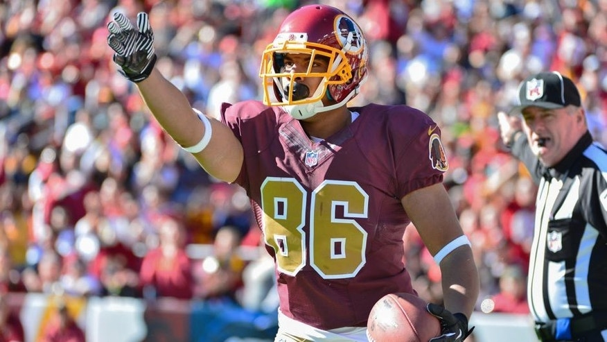 Nov 3, 2013; Landover, MD, USA; Washington Redskins tight end Jordan Reed (86) signals a first down during the first quarter against the San Diego Chargers at FedEx Field. The Redskins defeated the Chargers 30-24. Mandatory Credit: Tommy Gilligan-USA TODAY Sports