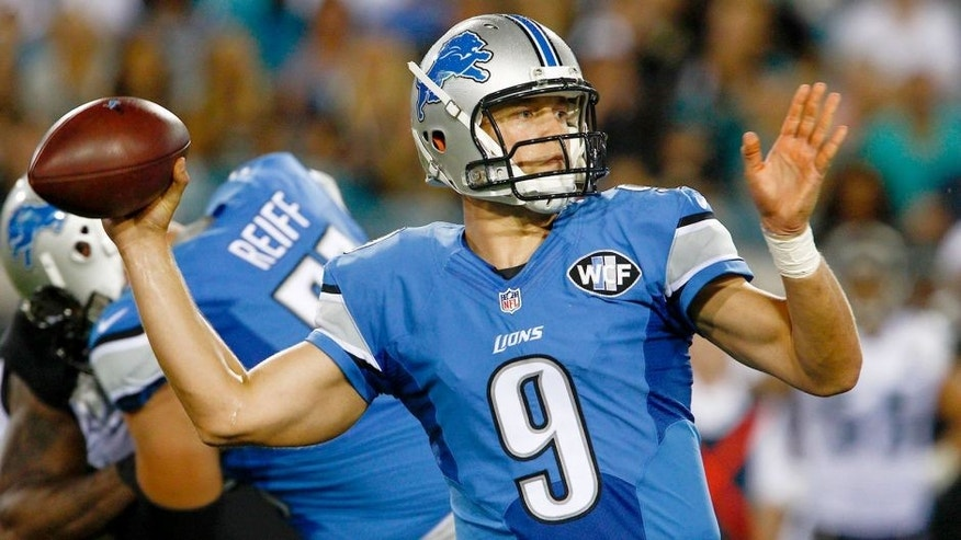 Aug 28, 2015; Jacksonville, FL, USA; Detroit Lions quarterback Matthew Stafford (9) prepares to throw the ball during the first quarter of an NFL preseason football game against the Jacksonville Jaguars at EverBank Field. Mandatory Credit: Reinhold Matay-USA TODAY Sports