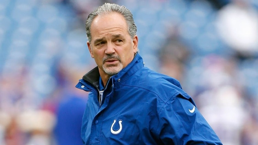 Sep 13, 2015; Orchard Park, NY, USA; Indianapolis Colts head coach Chuck Pagano on the field before the game against the Buffalo Bills at Ralph Wilson Stadium. Mandatory Credit: Kevin Hoffman-USA TODAY Sports