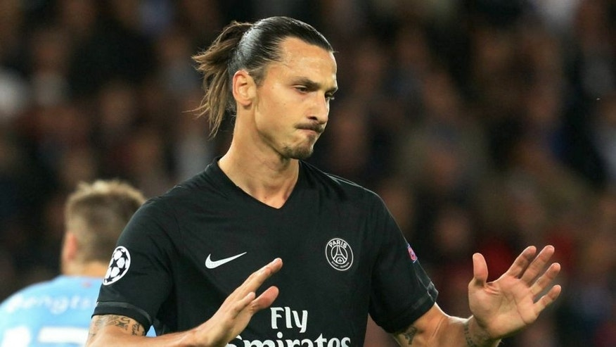 PARIS, FRANCE - SEPTEMBER 15: Zlatan Ibrahimovic of Paris Saint-Germain reacts during the UEFA Champions League between Paris Saint-Germain and Malmo FF at Parc Des Princes on September 15, 2015 in Paris, France. (Photo by Xavier Laine/Getty Images)