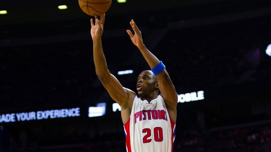 Oct 7, 2014; Auburn Hills, MI, USA; Detroit Pistons guard Jodie Meeks (20) shoots against the Chicago Bulls at The Palace of Auburn Hills. Mandatory Credit: Rick Osentoski-USA TODAY Sports