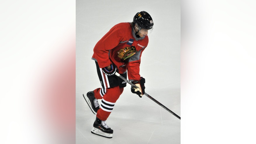 Chicago Blackhawks' Patrick Kane skates during NHL hockey training camp at the Compton Family Ice Center on the campus of the University of Notre Dame in South Bend, Ind., Friday, Sept. 18, 2015. (AP Photo/Joe Raymond)