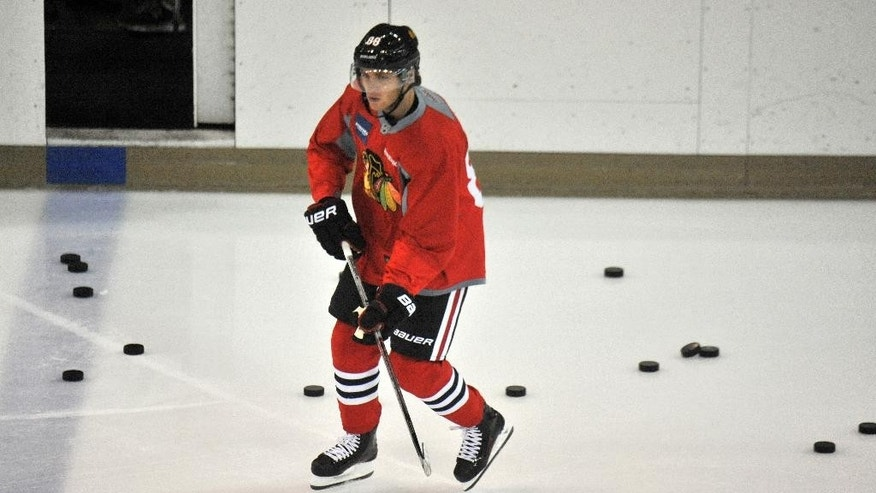 Chicago Blackhawks Patrick Kane skates during NHL hockey training camp at the Compton Family Ice Center on the campus of the University of Notre Dame in South Bend, Ind., Friday, Sept. 18, 2015. (AP Photo/Joe Raymond)