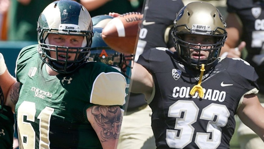 "In this Sept. 12, 2015, photo, Colorado State offensive lineman Zack Golditch, right, celebrates with running back Dalyn Dawkins after his run for a touchdown against Minnesota during an NCAA college football game in Fort Collins, Colo. Golditch and Jordan Murphy, who plays for Colorado, will meet on the gridiron Saturday, Sept. 19, in a football game in Denver; the two are survivors of the shootings at an Aurora, Colo., movie theater in July 2012. (AP Photo/David Zalubowski) In this Sept. 12, 2015 photo, Colorado fullback Jordan Murphy, front left, carries a Colorado state flag as he runs on to the field with teammates before the start of an NCAA college football game against Massachusetts, in Boulder, Colo. On July 20, 2012, Murphy was present at the showing of the Batman movie ""The Dark Knight Rises,"" when James Holmes opened fire, murdering 12 people and wounding 70. Murphy escaped by crawling on the floor before dashing toward the exit, a bullet flying by his head and lodging in the drywall. (AP Photo/Brennan Linsley)"