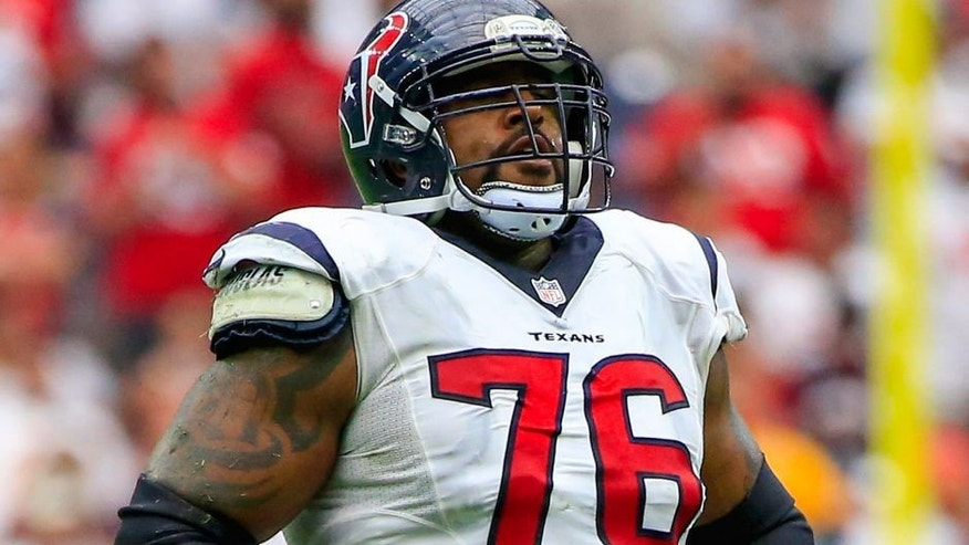 Sep 13, 2015; Houston, TX, USA; Houston Texans tackle Duane Brown (76) during the game against the Kansas City Chiefs at NRG Stadium. Mandatory Credit: Kevin Jairaj-USA TODAY Sports