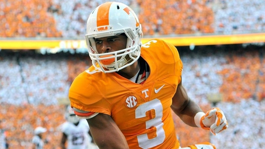 Sep 12, 2015; Knoxville, TN, USA; Tennessee Volunteers wide receiver Josh Malone (3) reacts after scoring a touchdown against the Oklahoma Sooners during the first half at Neyland Stadium. Mandatory Credit: Jim Brown-USA TODAY Sports