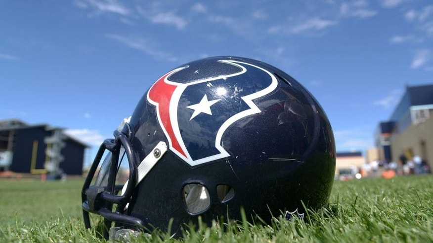 Aug 20, 2014; Englewood, CO, USA; General view of Houston Texans helmet during scrimmage against the Denver Broncos at the Broncos Headquarters. Mandatory Credit: Kirby Lee-USA TODAY Sports