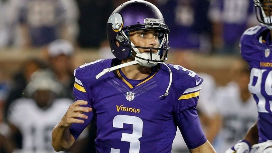 <p>Aug 22, 2015; Minneapolis, MN, USA; Minnesota Vikings kicker Blair Walsh (3) walks off the field after missing a 49 yard field goal attempt against the Oakland Raiders in the fourth quarter at TCF Bank Stadium. The Vikings won 20-12. Mandatory Credit: Bruce Kluckhohn-USA TODAY Sports</p>