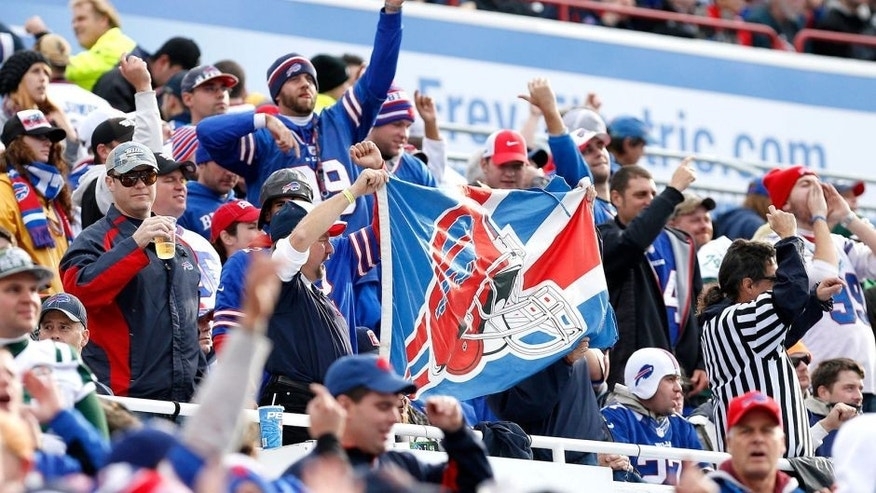 Nov 17, 2013; Orchard Park, NY, USA; Buffalo Bills fans celebrate a touchdown by the team during the first half against the New York Jets at Ralph Wilson Stadium. Mandatory Credit: Kevin Hoffman-USA TODAY Sports