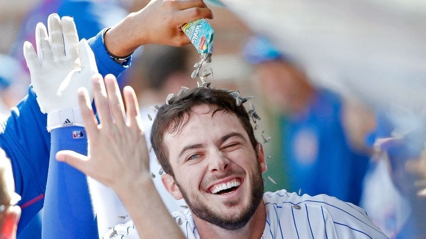 CHICAGO, IL - SEPTEMBER 19: Fernando Rodney #57 of the Chicago Cubs (not pictured) pours sunflower seeds onto Kris Bryant #17 after he hit a home run against the St Louis Cardinals during the fifth inning at Wrigley Field on September 19, 2015 in Chicago, Illinois. (Photo by Jon Durr/Getty Images)
