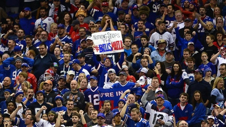 Nov 24, 2014; Detroit, MI, USA; Buffalo Bills fans cheer in the stands after a touchdown during the third quarter against the New York Jets at Ford Field. Mandatory Credit: Andrew Weber-USA TODAY Sports