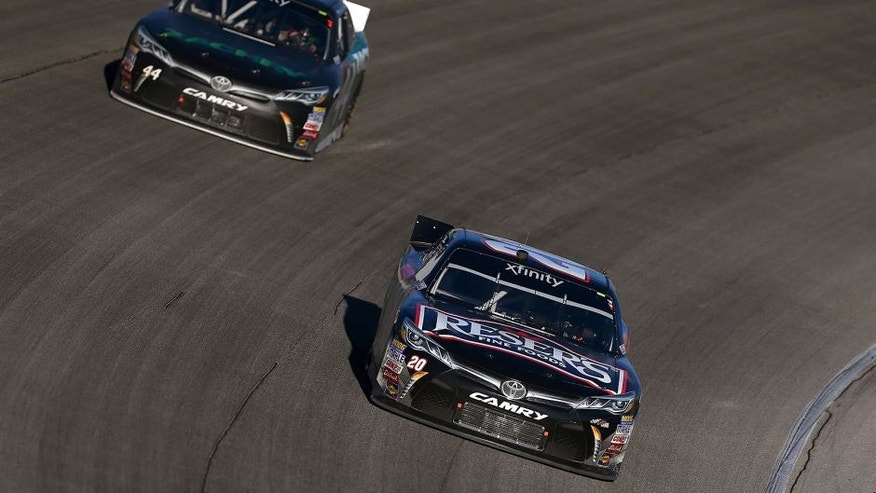 JOLIET, IL - SEPTEMBER 19: Matt Kenseth, driver of the #20 Reser's Main Street Toyota, leads David Starr, driver of the #44 Zachry Toyota, during the NASCAR XFINITY Series FURIOUS 7 300 at Chicagoland Speedway on September 19, 2015 in Joliet, Illinois. (Photo by Sarah Crabill/NASCAR via Getty Images)