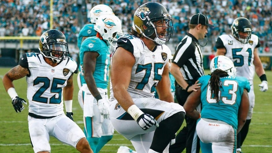 Sep 20, 2015; Jacksonville, FL, USA; Jacksonville Jaguars corner back Peyton Thompson (25) cheers on defensive end Jared Odrick (75) who celebrates a sack during the second half of an NFL football game at EverBank Field. The Jacksonville Jaguars won 23-20. Mandatory Credit: Reinhold Matay-USA TODAY Sports