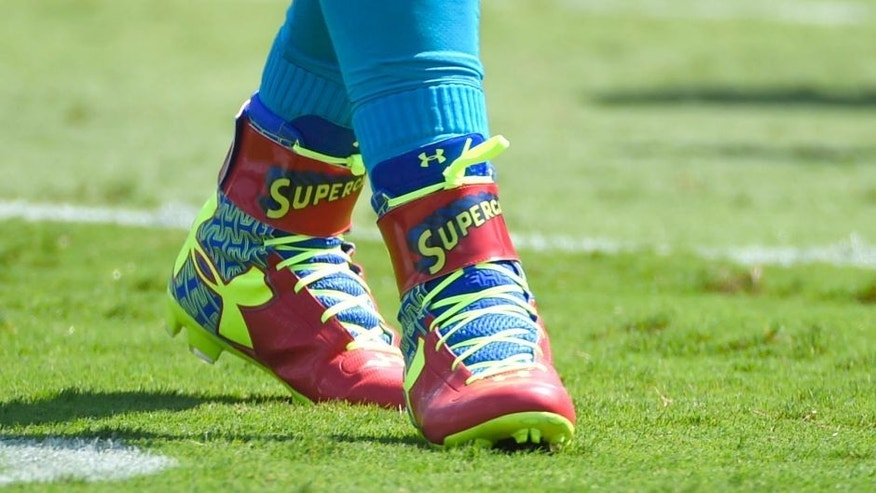 Sep 20, 2015; Charlotte, NC, USA; Carolina Panthers quarterback Cam Newton (1) wears Supercam shoes before the game at Bank of America Stadium. Mandatory Credit: Bob Donnan-USA TODAY Sports