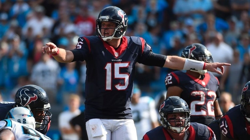 Sep 20, 2015; Charlotte, NC, USA; Houston Texans quarterback Ryan Mallett (15) signals in the fourth quarter. The Panthers defeated the Texans 24-17 at Bank of America Stadium. Mandatory Credit: Bob Donnan-USA TODAY Sports