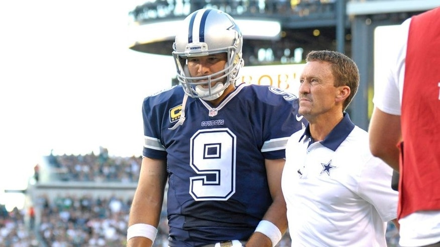 Sep 20, 2015; Philadelphia, PA, USA; Dallas Cowboys quarterback Tony Romo (9) walks towards the locker room after being sacked against the Philadelphia Eagles during the third quarter at Lincoln Financial Field. Mandatory Credit: Eric Hartline-USA TODAY Sports