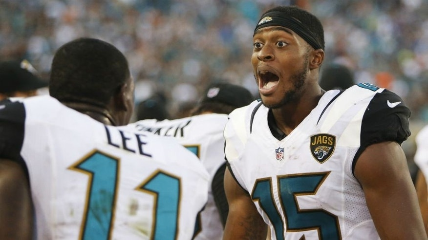 <p>Jacksonville Jaguars wide receiver Allen Robinson (15) celebrates on the sidelines after the second half of an NFL football game against the Miami Dolphins, Sunday, Sept. 20, 2015, in Jacksonville, Fla. The Jacksonville Jaguars won 23-20. (AP Photo/Stephen B. Morton)</p>