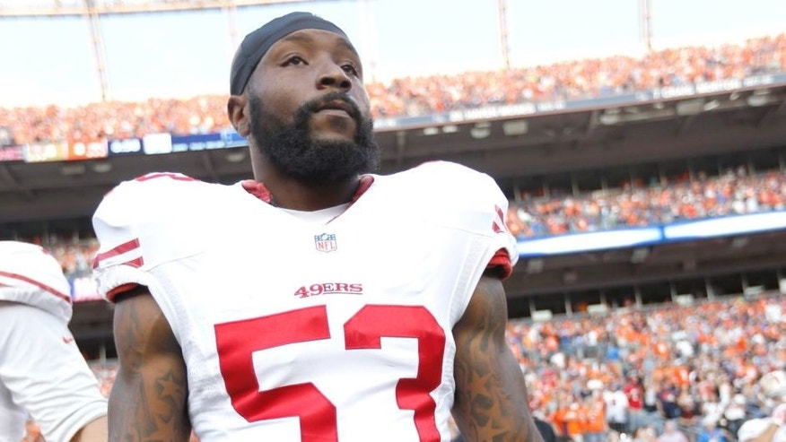 DENVER, CO - AUGUST 29: NaVorro Bowman #53 of the San Francisco 49ers stands on the sideline prior to the game against the Denver Broncos at Sports Authority Field on August 29, 2015 in Denver, Colorado. The Broncos defeated the 49ers 19-12. (Photo by Michael Zagaris/San Francisco 49ers/Getty Images)