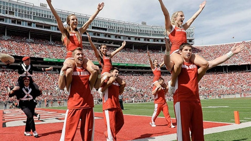Ohio State cheerleaders celebrate another Buckeye touchdown against the California Golden Bears at Ohio Stadium on September 15, 2012 in Columbus, Ohio.