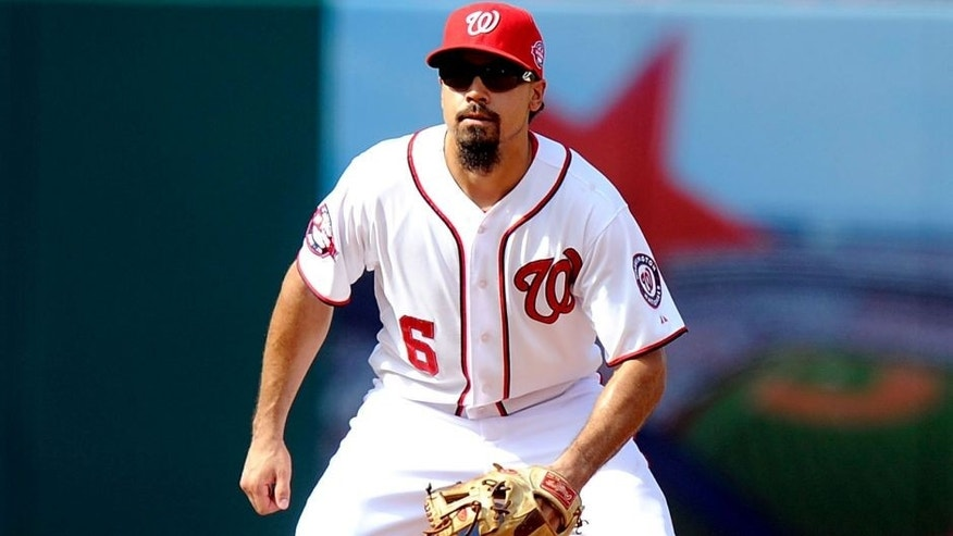 WASHINGTON, DC - AUGUST 30: Anthony Rendon #6 of the Washington Nationals plays third base against the Miami Marlins at Nationals Park on August 30, 2015 in Washington, DC. (Photo by G Fiume/Getty Images)