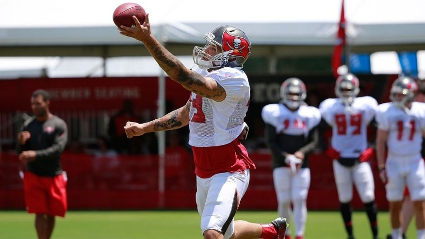 Aug 6, 2015; Tampa Bay, FL, USA; Tampa Bay Buccaneers wide receiver Mike Evans (13) catches the ball as he works out during training camp at One Buc Place. Mandatory Credit: Kim Klement-USA TODAY Sports