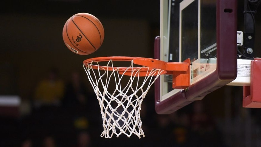 Nov 15, 2014; Los Angeles, CA, USA; General view of a Nike basketball with a Southern California Trojans logo, rim and backboard during the game against the Portland State Vikings against the Southern California Trojans at Galen Center. Mandatory Credit: Kirby Lee-USA TODAY Sports