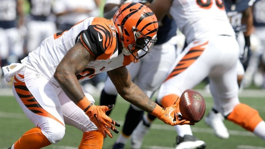 Cincinnati Bengals running back Jeremy Hill fumbles the ball in the second half of an NFL football game against the San Diego Chargers, Sunday, Sept. 20, 2015, in Cincinnati. (AP Photo/Darron Cummings)