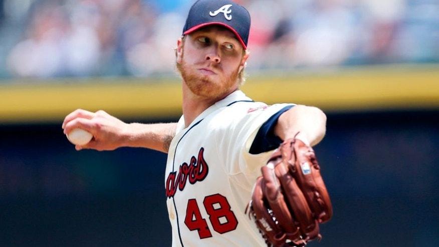 Atlanta Braves starting pitcher Mike Foltynewicz works in the first inning of a baseball game against the Milwaukee Brewers, Sunday, May 24, 2015, in Atlanta. (AP Photo/John Bazemore)