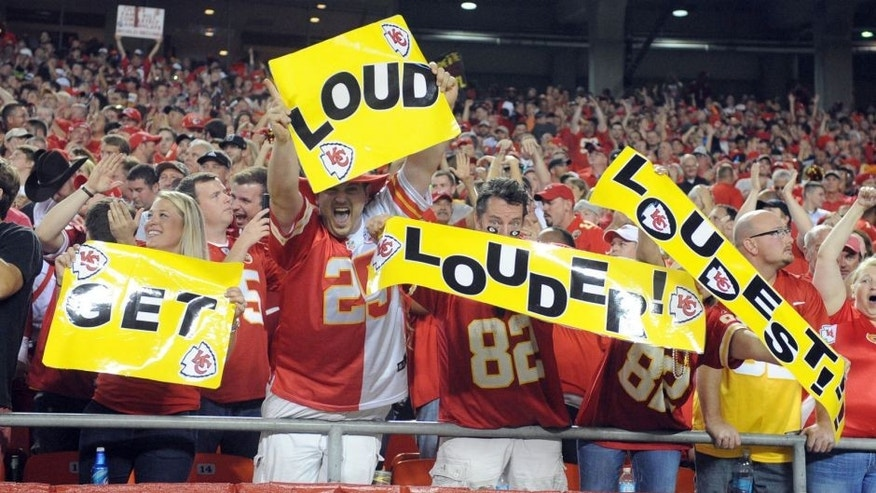 Sep 29, 2014; Kansas City, MO, USA; Kansas City Chiefs fans cheer in the first half against the New England Patriots at Arrowhead Stadium. Kansas City won 41-14. Mandatory Credit: John Rieger-USA TODAY Sports