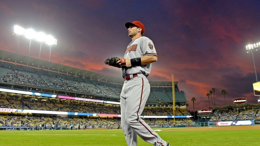 Sep 21, 2015; Los Angeles, CA, USA; Arizona Diamondbacks first baseman Paul Goldschmidt (44) on the field during the game against the Los Angeles Dodgers at Dodger Stadium. Diamondbacks won 8-4. Mandatory Credit: Jayne Kamin-Oncea-USA TODAY Sports