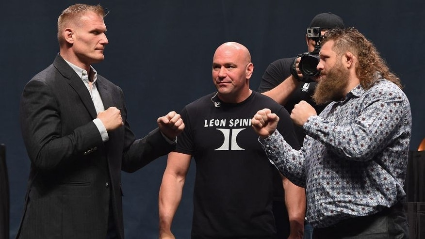 LAS VEGAS, NV - SEPTEMBER 04: (L-R) Josh Barnett and Roy Nelson face off during the UFC's Go Big launch event inside MGM Grand Garden Arena on September 4, 2015 in Las Vegas, Nevada. (Photo by Josh Hedges/Zuffa LLC/Zuffa LLC via Getty Images)