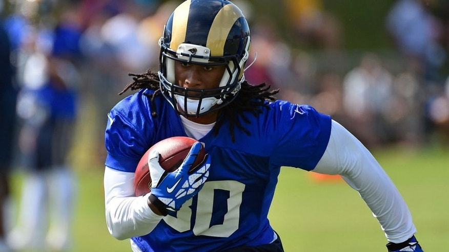 Aug 1, 2015; Earth City, MO, USA; St. Louis Rams running back Todd Gurley (30) runs with the ball at Rams Park. Mandatory Credit: Jasen Vinlove-USA TODAY Sports