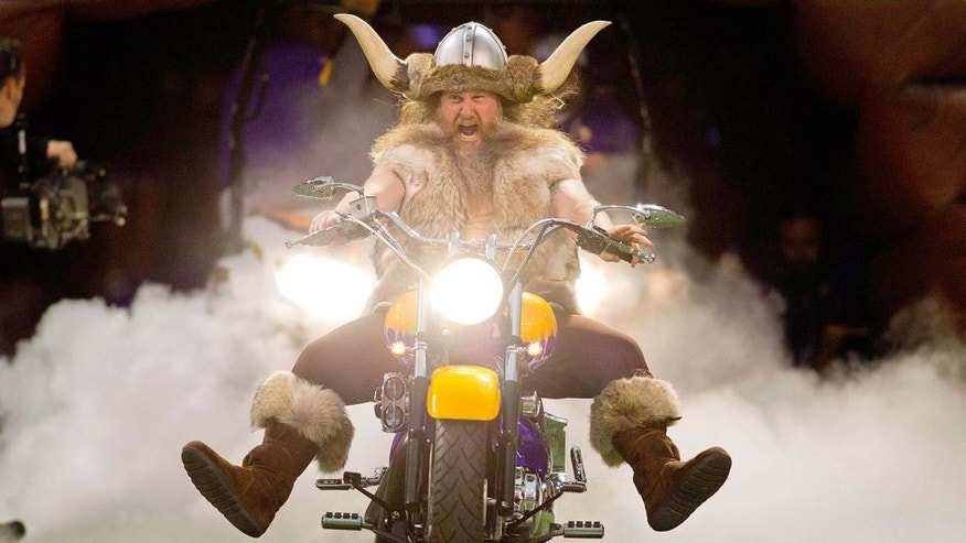 Dec 9, 2012; Minneapolis, MN, USA; Minnesota Vikings mascot Ragnar leads the team onto the field before the game with the Chicago Bears at the Metrodome. The Vikings win 24-14. Mandatory Credit: Bruce Kluckhohn-USA TODAY Sports