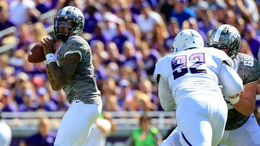 Sep 12, 2015; Fort Worth, TX, USA; TCU Horned Frogs quarterback Trevone Boykin (2) throws during the first half against the Stephen F. Austin Lumberjacks at Amon G. Carter Stadium. Mandatory Credit: Kevin Jairaj-USA TODAY Sports