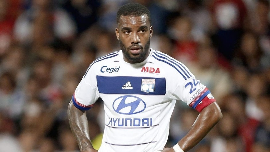 LYON - AUGUST 9: Alexandre Lacazette of Lyon in action during the French Ligue 1 match between Olympique Lyonnais (OL) and FC Lorient at Stade de Gerland on August 9, 2015 in Lyon, France. (Photo by Jean Catuffe/Getty Images)