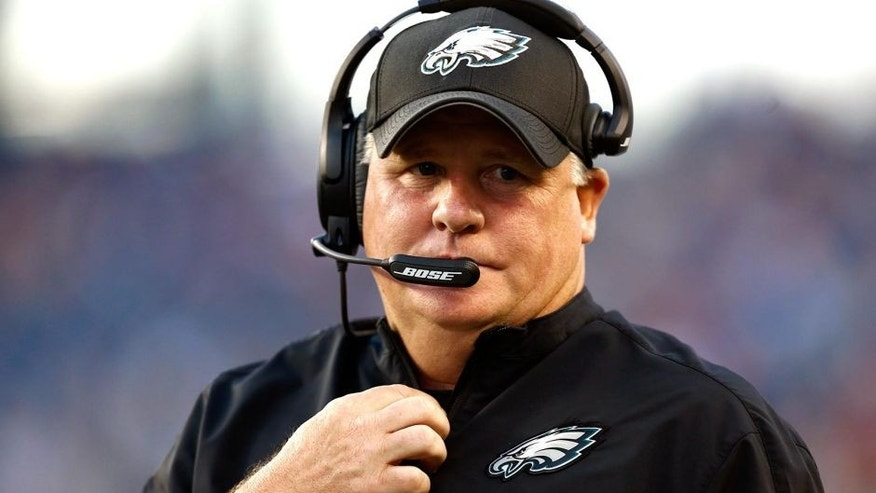 Aug 15, 2014; Foxborough, MA, USA; Philadelphia Eagles head coach Chip Kelly prior to a game against the New England Patriots at Gillette Stadium. Mandatory Credit: Mark L. Baer-USA TODAY Sports