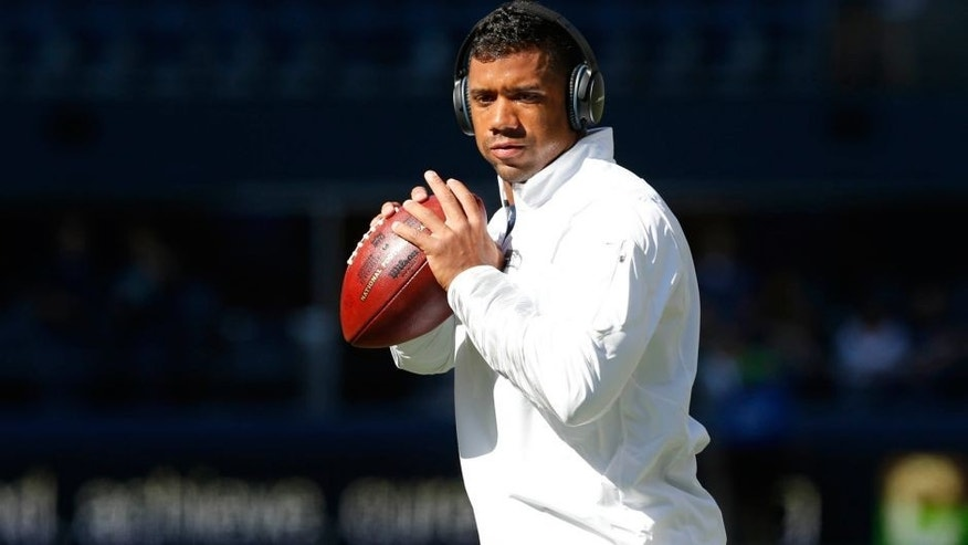 <p>Sep 4, 2014; Seattle, WA, USA; Seattle Seahawks quarterback Russell Wilson (3) warms up before a game against the Green Bay Packers at CenturyLink Field. Mandatory Credit: Joe Nicholson-USA TODAY Sports</p>