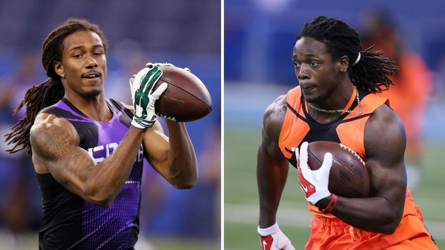 Former high school teammates and college rivals Trae Waynes (left) and Melvin Gordon are poised to both be first-round picks.