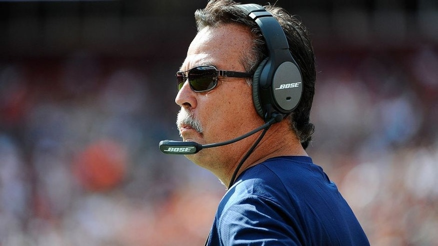 Sep 20, 2015; Landover, MD, USA; St. Louis Rams head coach Jeff Fisher looks on against the Washington Redskins during the second half at FedEx Field. The Washington Redskins won 24 - 10. Mandatory Credit: Brad Mills-USA TODAY Sports