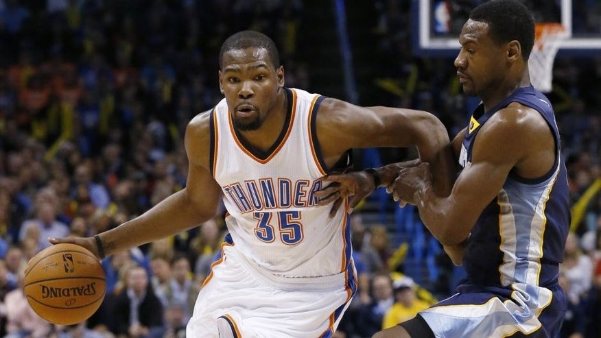 "<p style=""font-family: tahoma, arial, helvetica, sans-serif; font-size: 12px;"">Oklahoma City Thunder forward Kevin Durant (35) drives around Memphis Grizzlies forward Tony Allen during the third quarter of an NBA basketball game in Oklahoma City, Wednesday, Feb. 11, 2015. Oklahoma City won 105-89. (AP Photo/Sue Ogrocki)</p>"