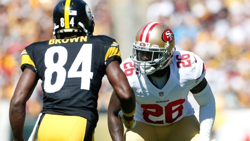 PITTSBURGH, PA - SEPTEMBER 20: Tramaine Brock #26 of the San Francisco 49ers defends during the game against the Pittsburgh Steelers at Heinz Field on September 20, 2015 in Pittsburgh, Pennsylvania. The Steelers defeated the 49ers 43-18. (Photo by Michael Zagaris/San Francisco 49ers/Getty Images)