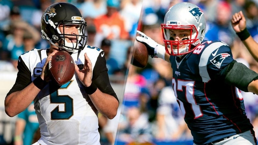 JACKSONVILLE, FL - SEPTEMBER 20: Blake Bortles #5 of the Jacksonville Jaguars attempts a pass during the game against the Miami Dolphins at EverBank Field on September 20, 2015 in Jacksonville, Florida. (Photo by Sam Greenwood/Getty Images) ORCHARD PARK, NY - SEPTEMBER 20: Rob Gronkowski #87 of the New England Patriots celebrates a touchdown reception making the score 21-7 over the Buffalo Bills on September 20, 2015 at Ralph Wilson Stadium in Orchard Park, New York. (Photo by Brett Carlsen/Getty Images)