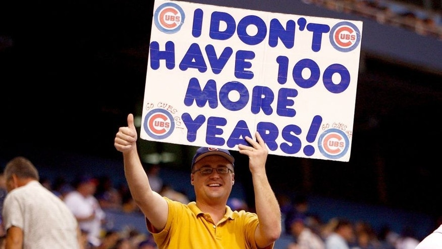 ST. PETERSBURG, FL - JUNE 18: A fan of the Chicago Cubs made a sign for the game against the Tampa Bay Rays during the game on June 18, 2008 at Tropicana Field in St. Petersburg, Florida. (Photo by J. Meric/Getty Images)