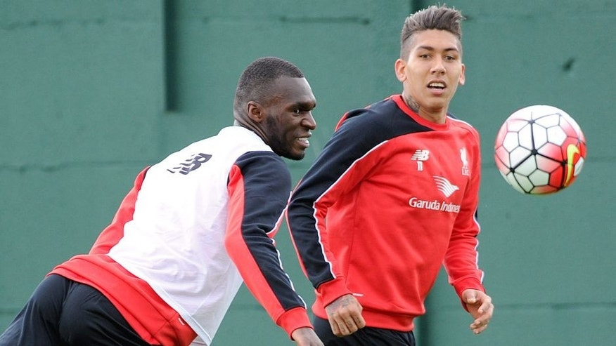 LIVERPOOL, ENGLAND - JULY 23: (THE SUN OUT, THE SUN ON SUNDAY OUT) Christian Benteke of Liverpool trains on his first day with the club alongside Roberto Firmino at Melwood Training Ground on July 23, 2015 in Liverpool, England. (Photo by John Powell/Liverpool FC via Getty Images)