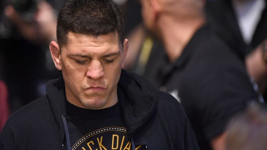 LAS VEGAS, NV - JANUARY 31: Nick Diaz walks to the Octagon to face Anderson Silva in their middleweight bout during the UFC 183 event at the MGM Grand Garden Arena on January 31, 2015 in Las Vegas, Nevada. (Photo by Josh Hedges/Zuffa LLC/Zuffa LLC via Getty Images)