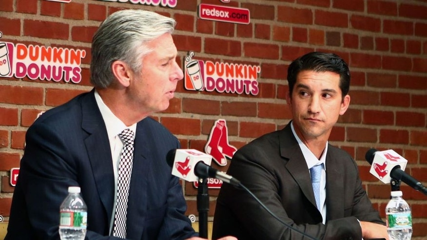 Sep 24, 2015; Boston, MA, USA; Boston Red Sox president of baseball operations Dave Dombrowski (left) introduces Mike Hazen (right) as the team's new GM prior to a game against the Tampa Bay Rays at Fenway Park. Mandatory Credit: Mark L. Baer-USA TODAY Sports