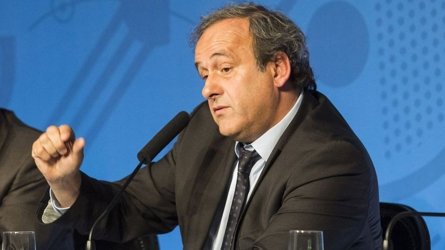 PARIS, FRANCE - JUNE 10: President of the Union of European Football Associations (UEFA) Michel Platini gives a press conference on June 10, 2015 in Paris, on the first day of sale of one million of Euro 2016 tickets. (Photo by Geoffroy Van der Hasselt/Anadolu Agency/Getty Images)